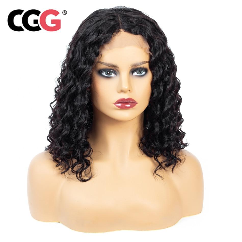 Short Wigs Lace-Frontal Human-Hair Deep-Wave CGG Natural-Color Peruvian Black Women