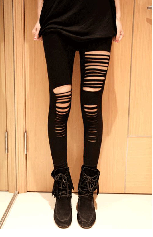 Spring Summer New Fashion sexy women  black Tight pants Hollow stripe fashion Nine