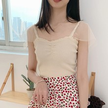 Women Tank Top Fashion Solid Color Sexy V Neck Tops Vest Korean Style Summer Casual Lace Patchwork Strap 2019 New