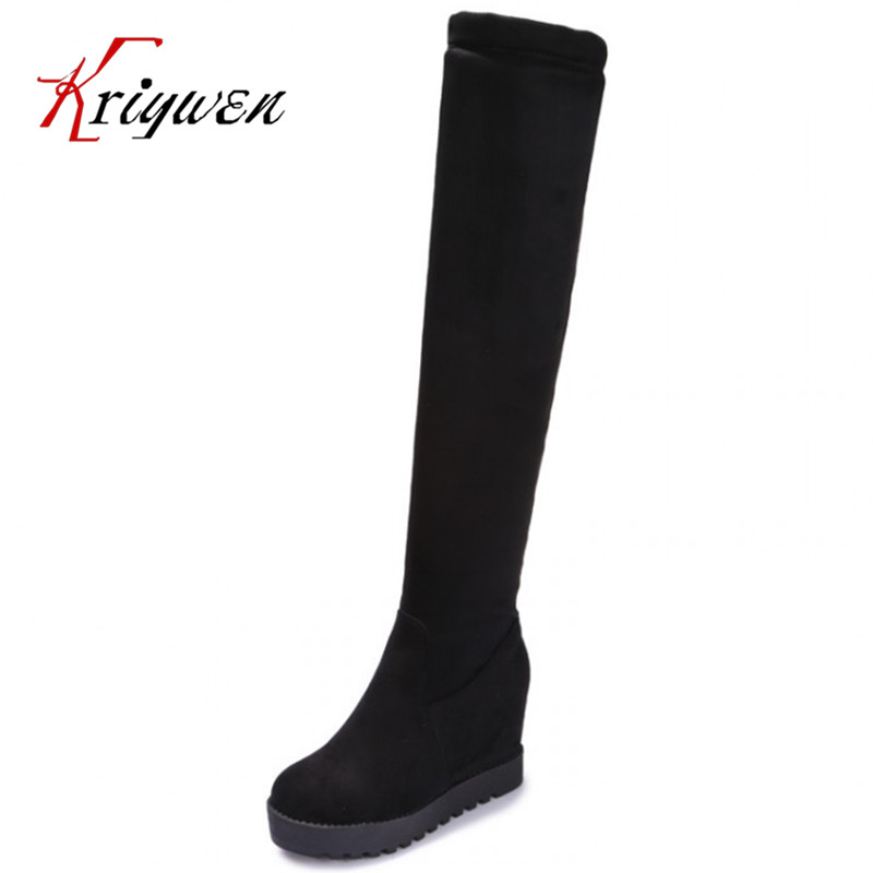 Plus size 34-43 Factory direct sale thick high heel designer long boots fashion sexy round toe high quality winter lace boots