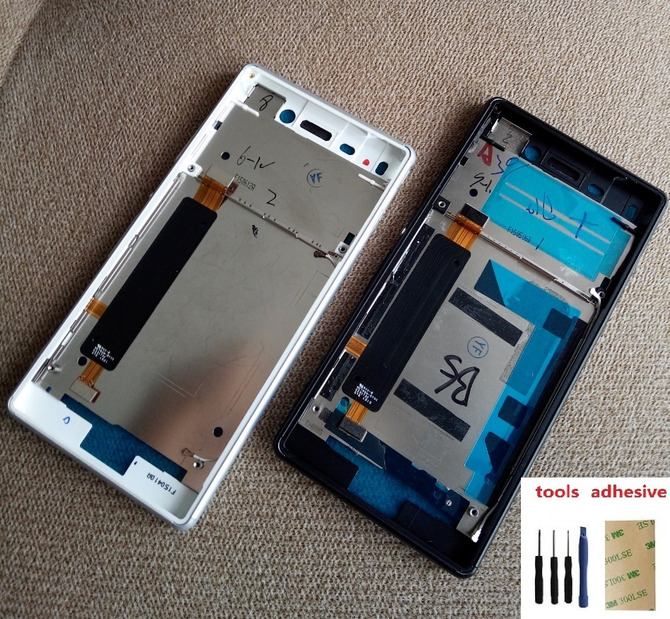 For Sony Xperia M4 Aqua E2303 E2333 E2353 Housing Front LCD Bezel Plate Frame Chassis + Dust Plug Port Cover + Sticker