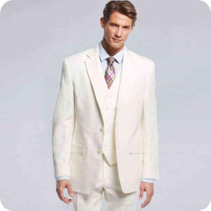 夏アイボリーベージュ男性が結婚式のスーツブレザースリムフィットカジュアル新郎テーラードタキシード最高男衣装オム 3 個