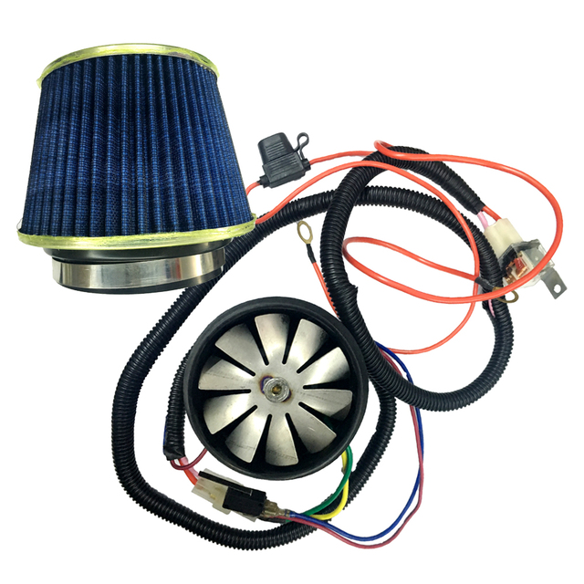 Universal Electric Turbo Supercharger Kit Thrust Motorcycle Turbocharger With Air Filter Intake Improve High Sd