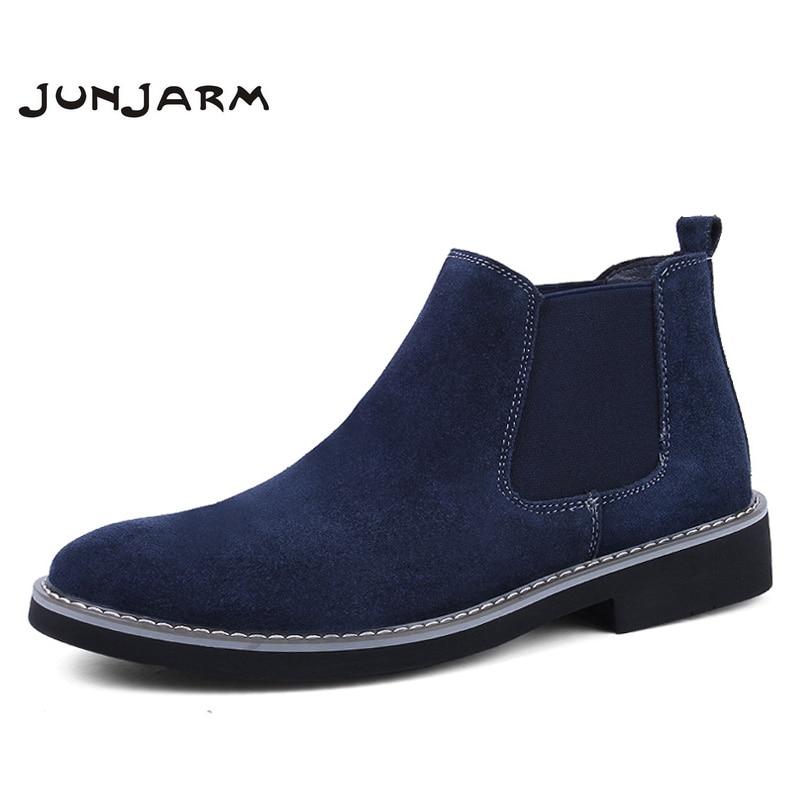 JUNJARM/ботинки «Челси» для мужчин из коровьей замши, сезон осень-зима, модные мужские ботильоны, Нежные мужские зимние ботинки из натуральной ...