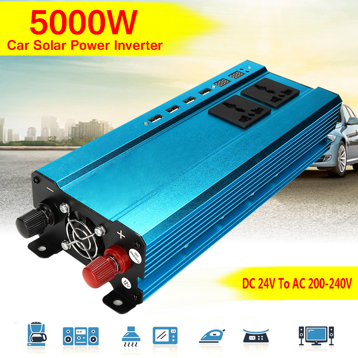 Interface Converter 5000W DC 12/ 24V to AC 220V 4 USB Car Solar ...