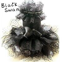 Free shipping Advanced custom black swan Ultra Luxury diamond lace dot tulle mop princess dog dress pet skirt doggie clothes