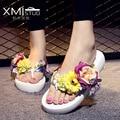 Sandálias 2017 das Mulheres Flores Flip Flops Sandals Mulheres de Verão Sapatos de Praia Chinelos sapatos Femininos de verão mulheres