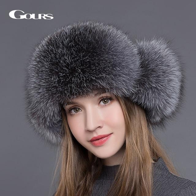 Gours Bontmuts Voor Vrouwen Natuurlijke Wasbeer Vossenbont Russische Ushanka Hoeden Winter Dikke Warme Oren Fashion Bomber Cap Zwart nieuwe Collectie