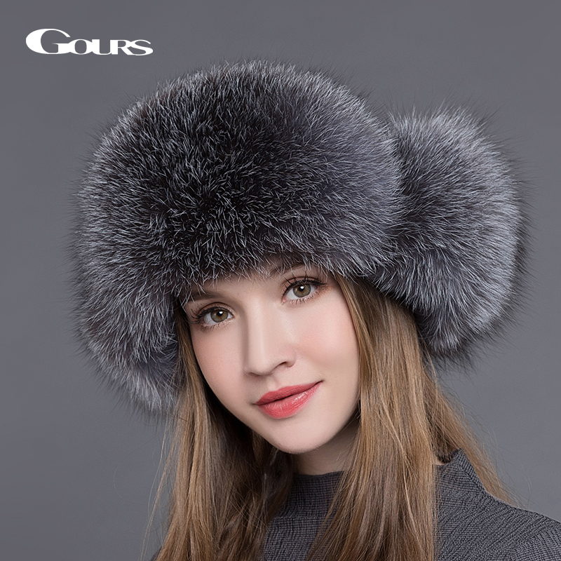 Gours Fur Hat til kvinder Naturlig Raccoon Fox Fur Russisk Ushanka Hatte Winter Thick Warm Ears Fashion Bomber Hue Sort Ny Ankomst