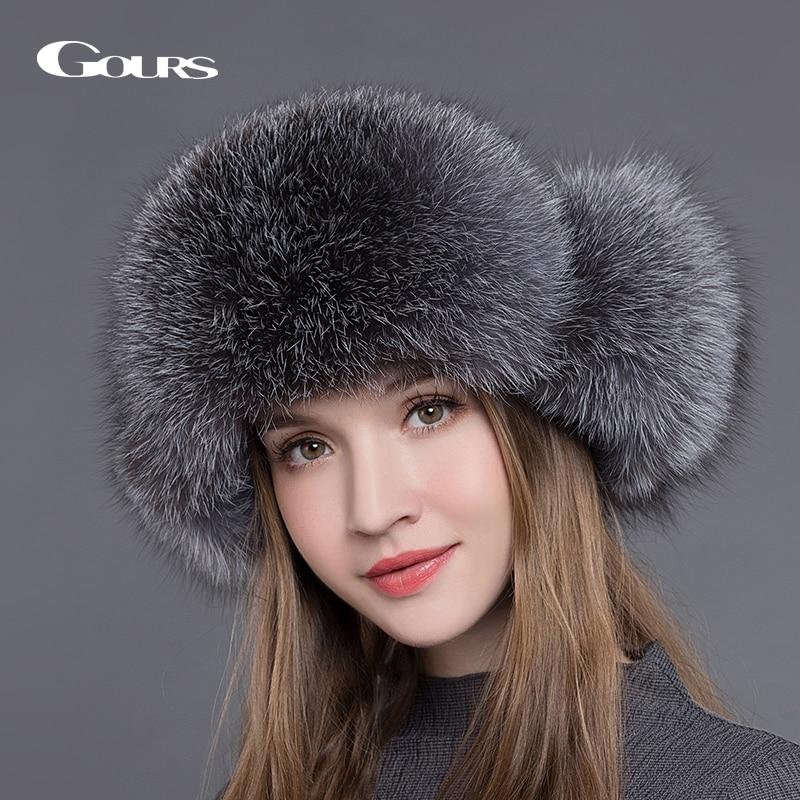 Gours Fur Hat for Women Natural Raccoon Fox Fur Russian Ushanka Hats Winter Thick Warm Ears Fashion Bomber Cap Black New Arrival