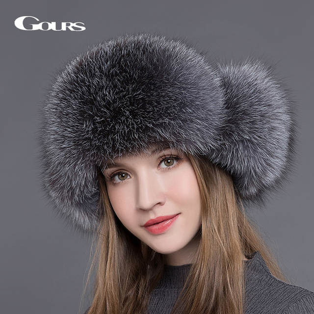 Online Shop Gours Fur Hat for Women Natural Raccoon Fox Fur Russian Ushanka Hats  Winter Thick Warm Ears Fashion Bomber Cap Black New Arrival  09222b54c738