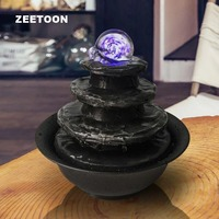 LED Crystal Ball Mini Water Features Fountain Waterfall Air Humidifier Feng Shui Tabletop Decor Creative Lucky Home Ornaments