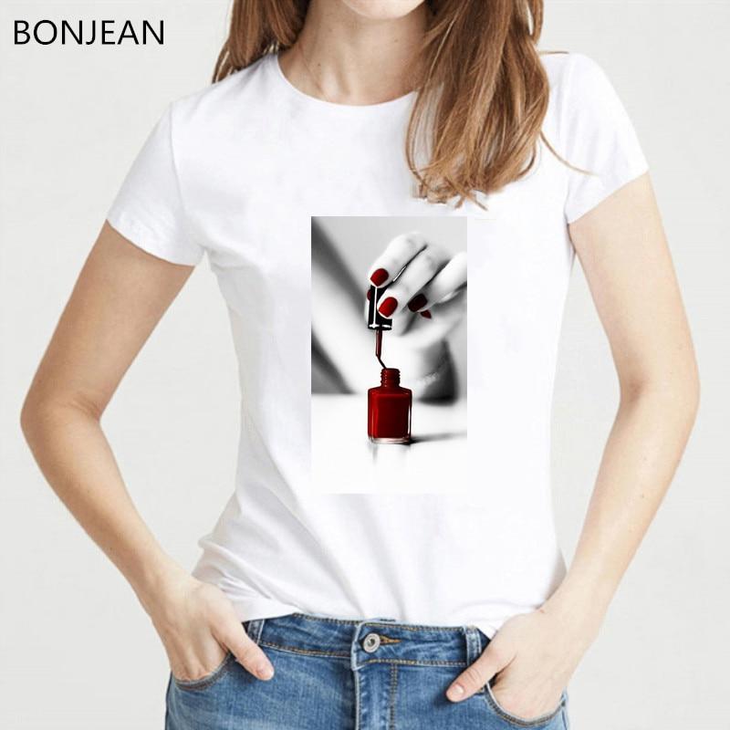 Vintage Nail Polish Print T Shirt Women 90s Aesthetic Clothes Graphic Tshirt Femme Harajuku White T-shirt Female Streetwear