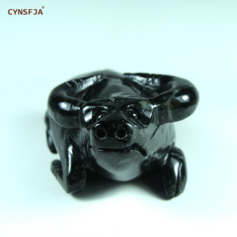 CYNSFJA Real Rare Certified Natural Chinese Dushan Jade OX Small Decoration Fengshui In Office Home Hand Carved Best Gifts