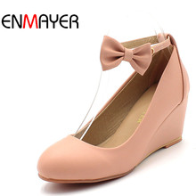 ENMAYER shoes woman fashion women pumps Wedges dress shoes bowtie nude pumps high heels wedding shoes for women Platform pumps цены онлайн