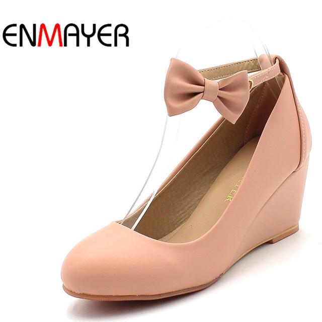 détaillant en ligne 97c1b 4bae0 € 22.78 50% de réduction|ENMAYER chaussures pour femme Femmes De Mode  Escarpins Compensées chaussures habillées Bowtie Nu Pompes talons hauts ...