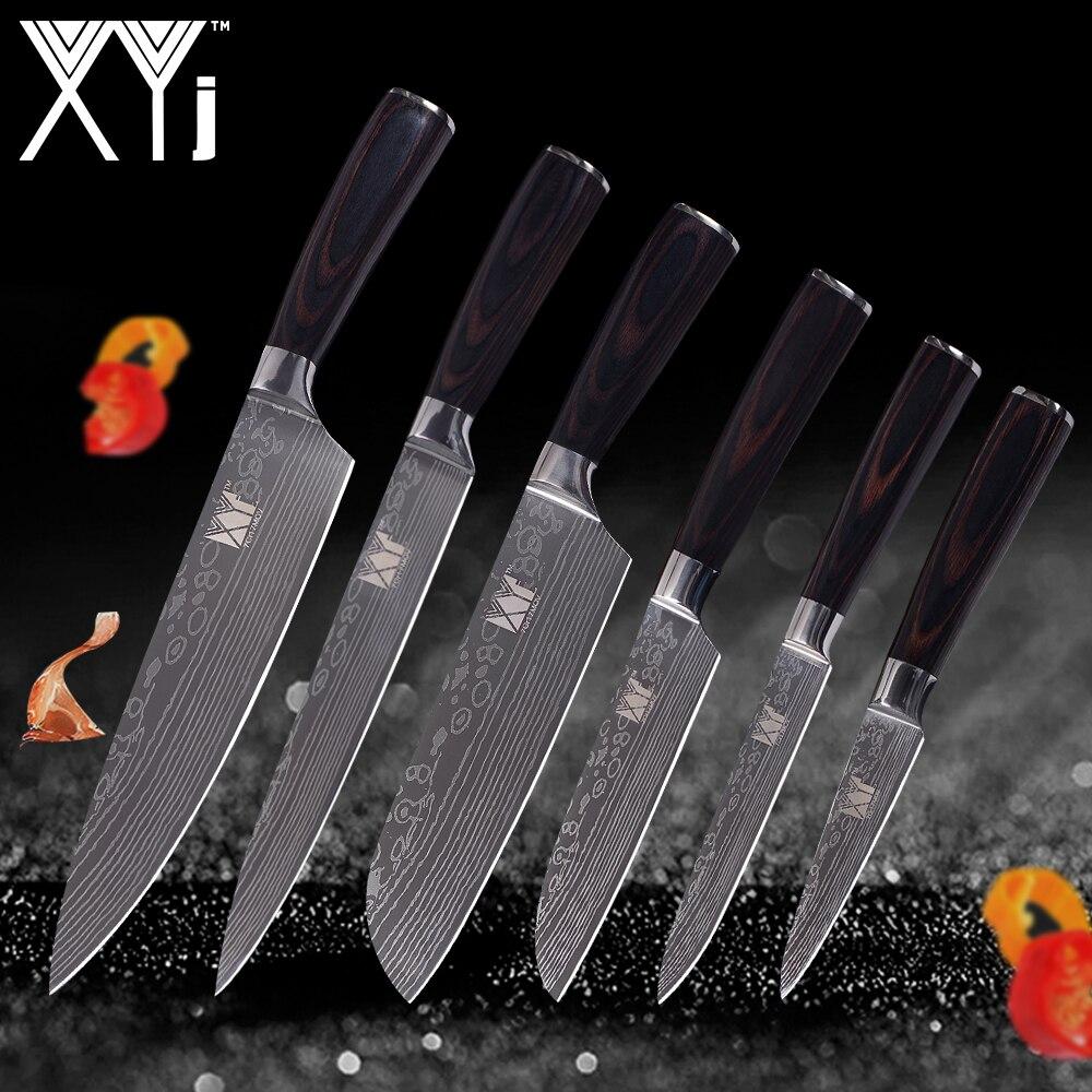 XYj Damas Veines Acier Inoxydable Couteau Ensembles Léger Effort Couleur Manche En Bois Cuisine Couteaux 6 pcs Ensemble Cuisine Outils Cadeau