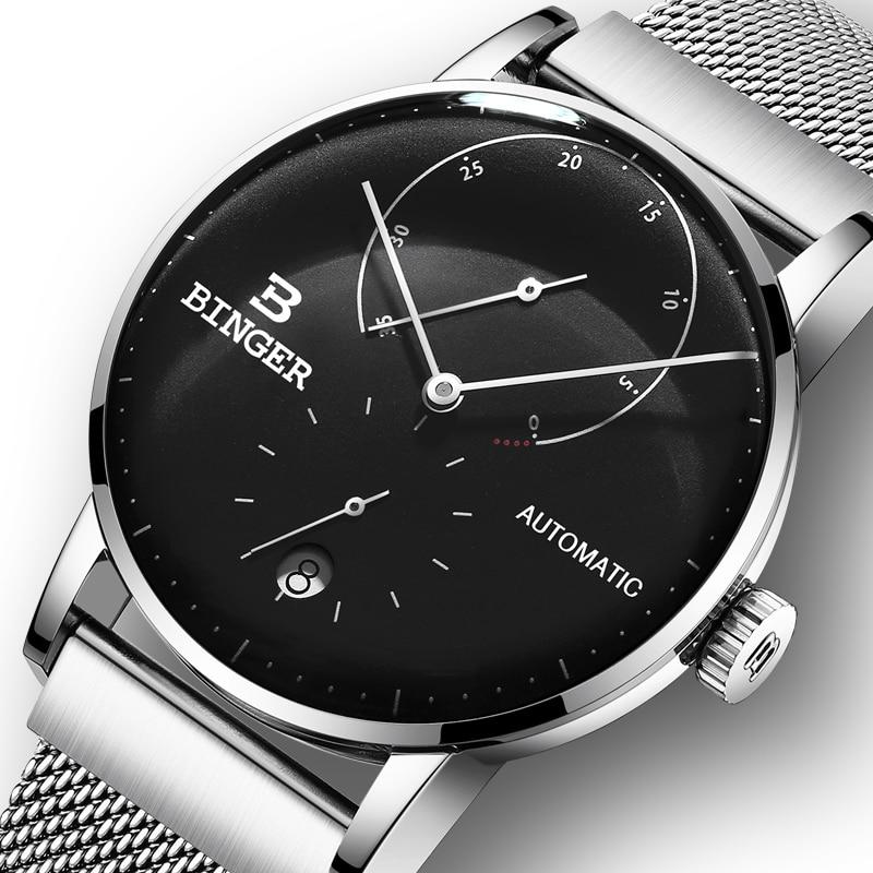 Switzerland BINGER Men Watch Luxury Brand Automatic Mechanical Mens Watches Sapphire Male Japan Movement reloj hombre B-1187-13 цена
