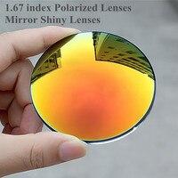Índice de 1.67 Lentes de Gafas de Sol Polarizadas gafas de Sol Lentes de Espejo Brillante para La Miopía/Hipermetropía Anti UVA/UVB Anti Deslumbramiento