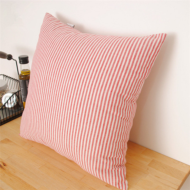 Red Stripe Europe Style Cotton+Linen Cushion Cover For Sofa Lumbar Pillow  Cover Decorative Pillows