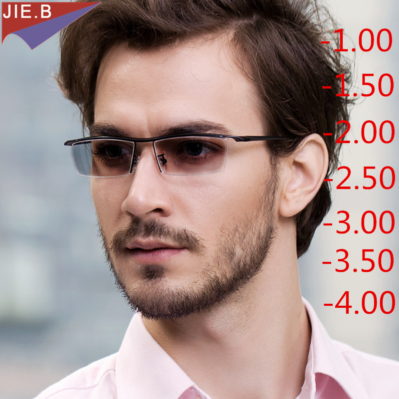 New Fashion Commercial Men's Photochromic Alloy Glasses TR90 Frame Finished Sunglasses Myopia Glasses