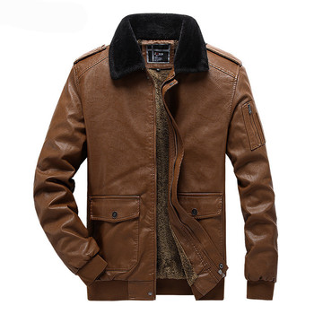 MORUANCLE Men Winter Warm Leather Jackets And Coats With Fur Collar Fleece Lined Thermal Thick PU Oterwear For Male With Pockets