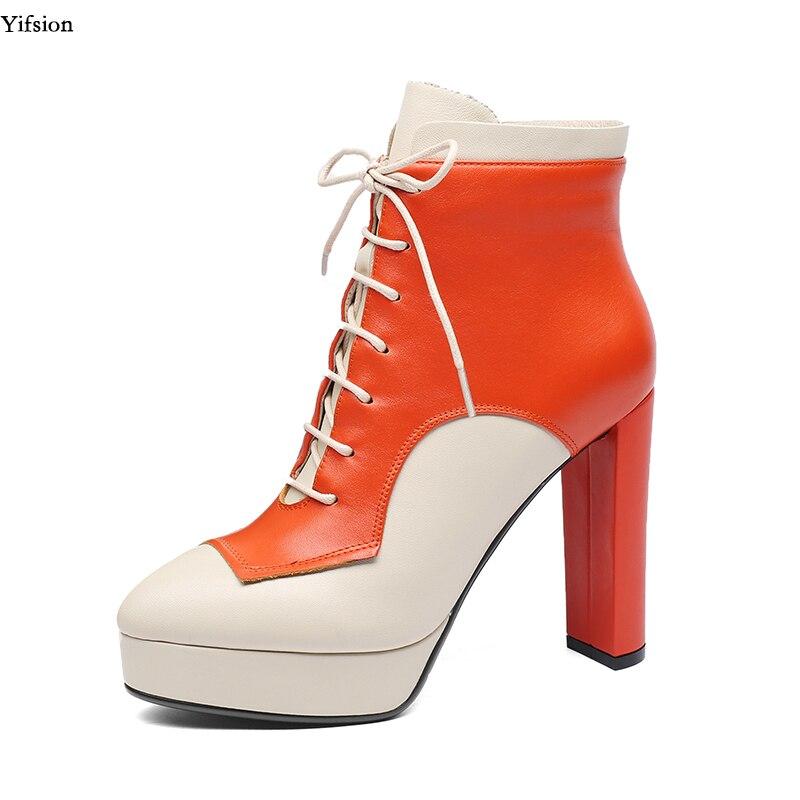 Chaussures Sexy À Partie 4 Cheville Rond D0755 Taille Femmes Cuir Orange Nous 5 Bout Plate Carré Talons En Yifsion Hauts Magnifique forme 8 Bottes nm0yvwON8P