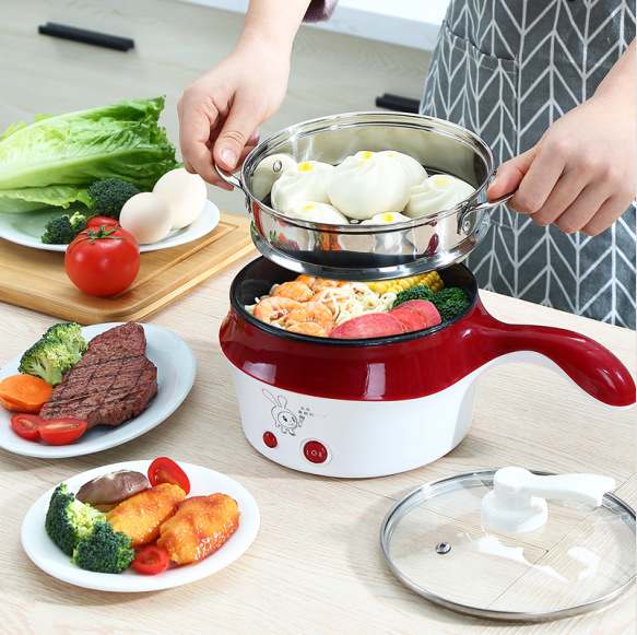 22%,1.5L Electric Skillet Non-stick Rice Cooker with Steamer Multi-use Electric Frying Cooker Hot Pot 2 Gear Power Adjustable rice cooker