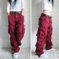Men and Women Cargo Pants 8 Pocket Cotton Hip Hop Trousers Loose Baggy Military Army Tactical Pants Wide Leg Joggers Plus Size