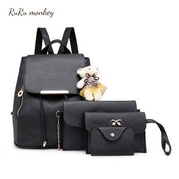 729b63d513aa RURU monkey 4 шт./компл. женские рюкзаки 2018 новые Mochila школьные сумки  Feminina путешествия ...