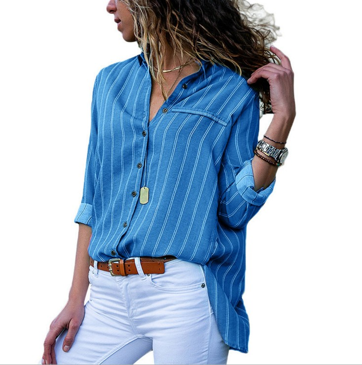 Baharcelin Style Girl Lady Full Sleeve Shirt Striped Chiffon Shirt Ladies Informal Plus Measurement 2XL 3XL Chiffon Tops Clothes Blouses & Shirts, Low-cost Blouses & Shirts, Baharcelin Style Girl...