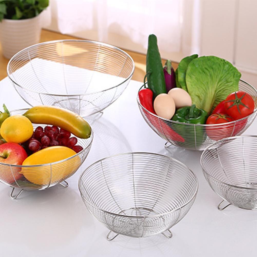 Stainless Steel Fruit Basket Kitchen Vegetable Drain Washing Basket Water  Filtration Storage Basket Kitchen Tools