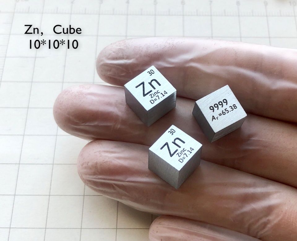 Zn Zinc Metal 10mm Density Cube 99.99% Pure for Element Collection цена