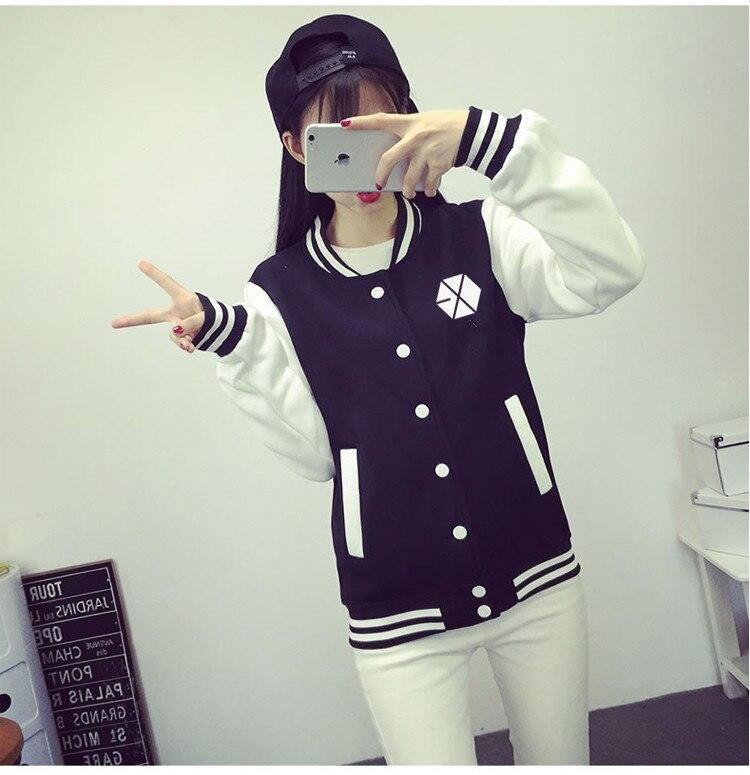 Hot EXO XOXO WOLF GROWL baseball uniform JACKETS with name hoodie black FREE SHIPPING