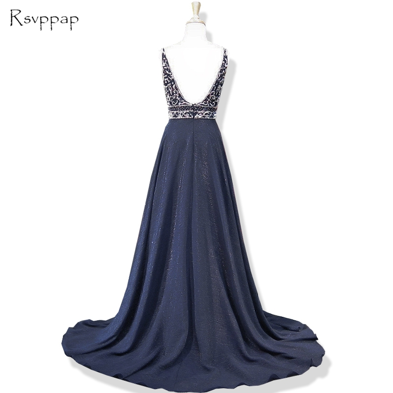 50ce2eea3ed Long Prom Dresses 2019 Sparkly Beaded Top Deep V-neck Sleeveless Backless  African Navy Blue Prom Dress