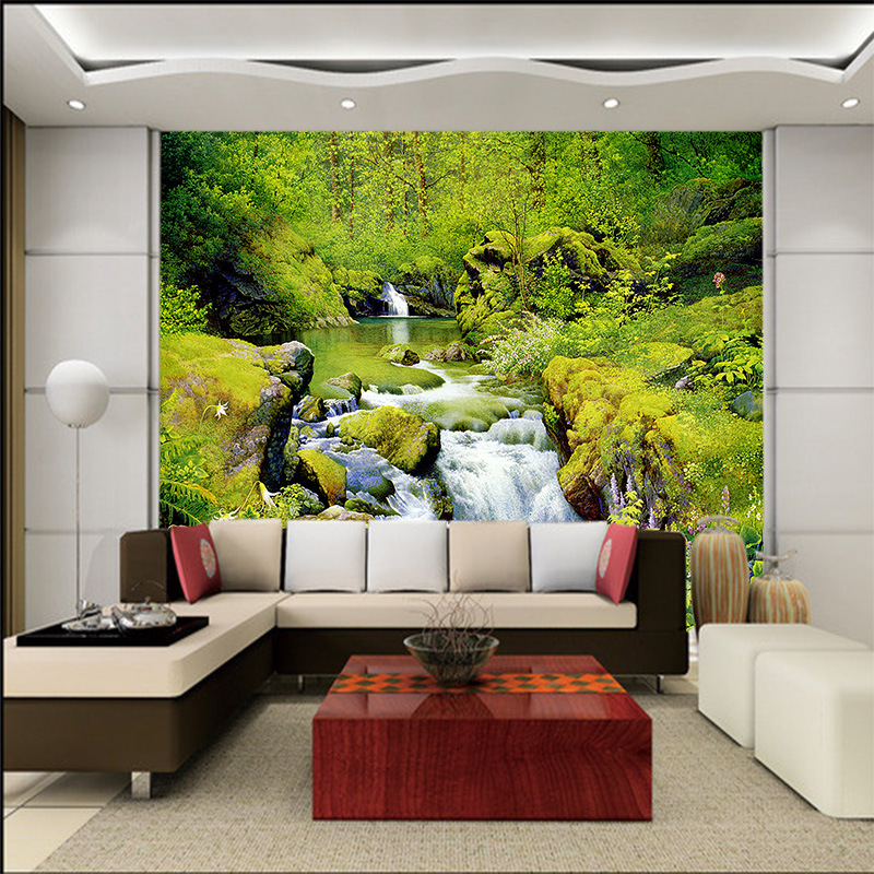 3d Customized Wallpaper Mural Modern Style Landscape Painting With Mountain Water Behind Tv Sofa Bed As Background In Living