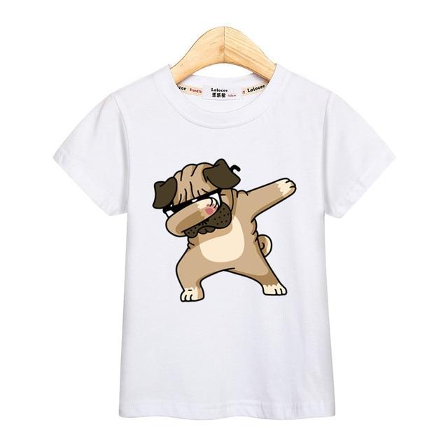 Camiseta de dibujos animados de Pug DAB chico ropa de algodón de verano camisetas de manga corta con estampado camiseta de moda para niñas chico tee