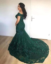 Sparkly African Dark Green Mermaid Evening Dresses 2019 Off the Shoulder Lace Sequins Corset Back Long Prom Celebrity Gowns BC07