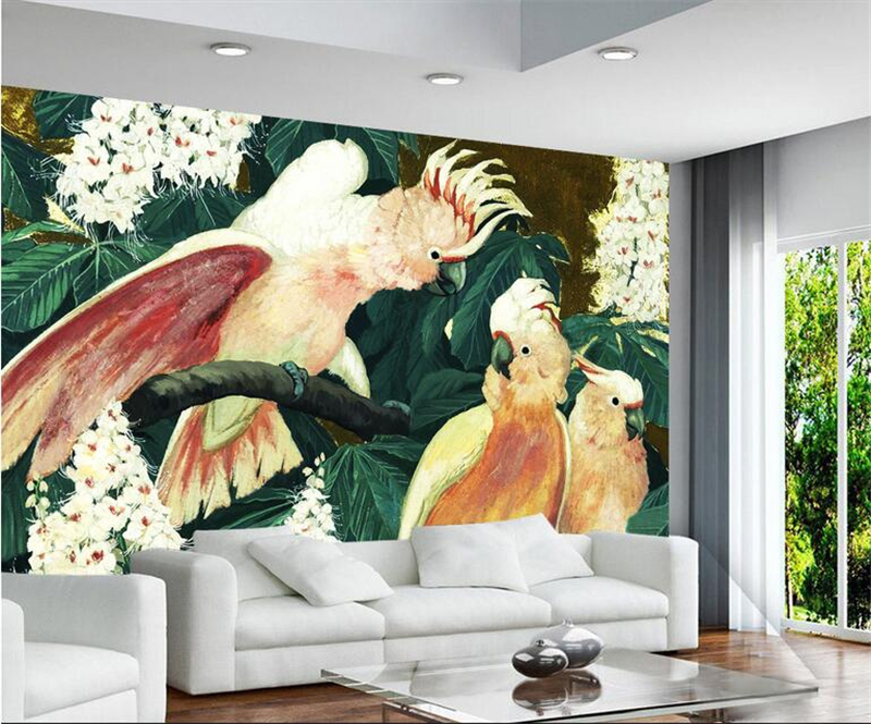 Custom Wall Papers Home Decor Parrot Branches Photo Wall Murals Painting Embossed TV Background 3d Wallpaper for Living Room shinehome black white cartoon car frames photo wallpaper 3d for kids room roll livingroom background murals rolls wall paper