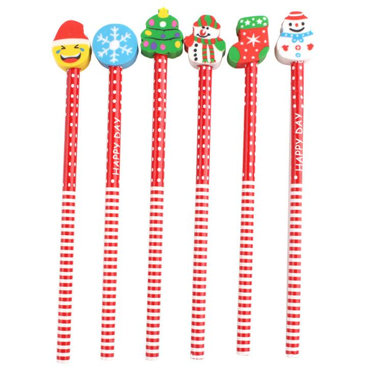 New Cartoon HB Wooden Eraser Pencils for Writing Novelty Merry Christmas Kid Gifts Wooden Pencil Students School Office Supplies