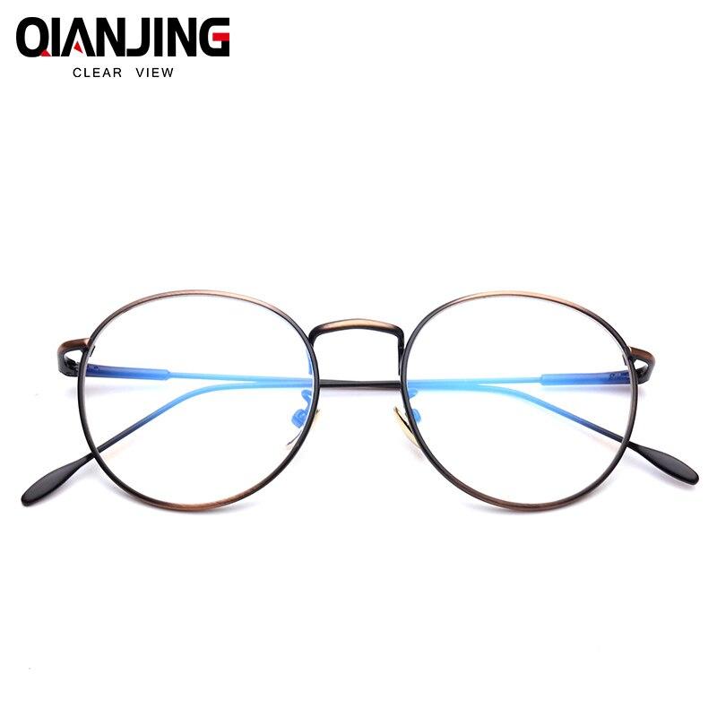 QIANJING Koreanische Brille Rahmen Retro Vollrand Gold Brillen ...