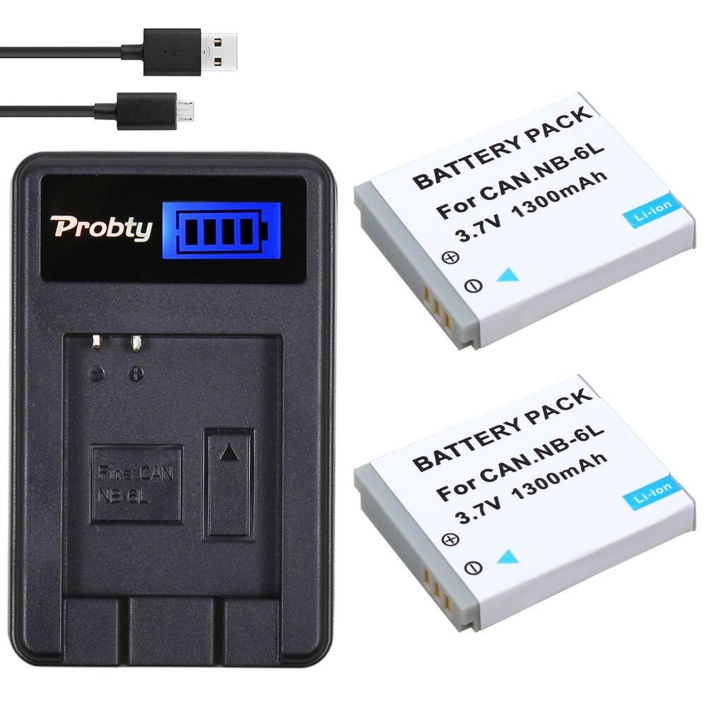 Prix pour Probty 2 pcs nb-6l nb 6l nb6l batterie + lcd usb chargeur pour canon ixus 310 sx275 sx280 sx510 200 105 210 300 s90 s95 SD1300