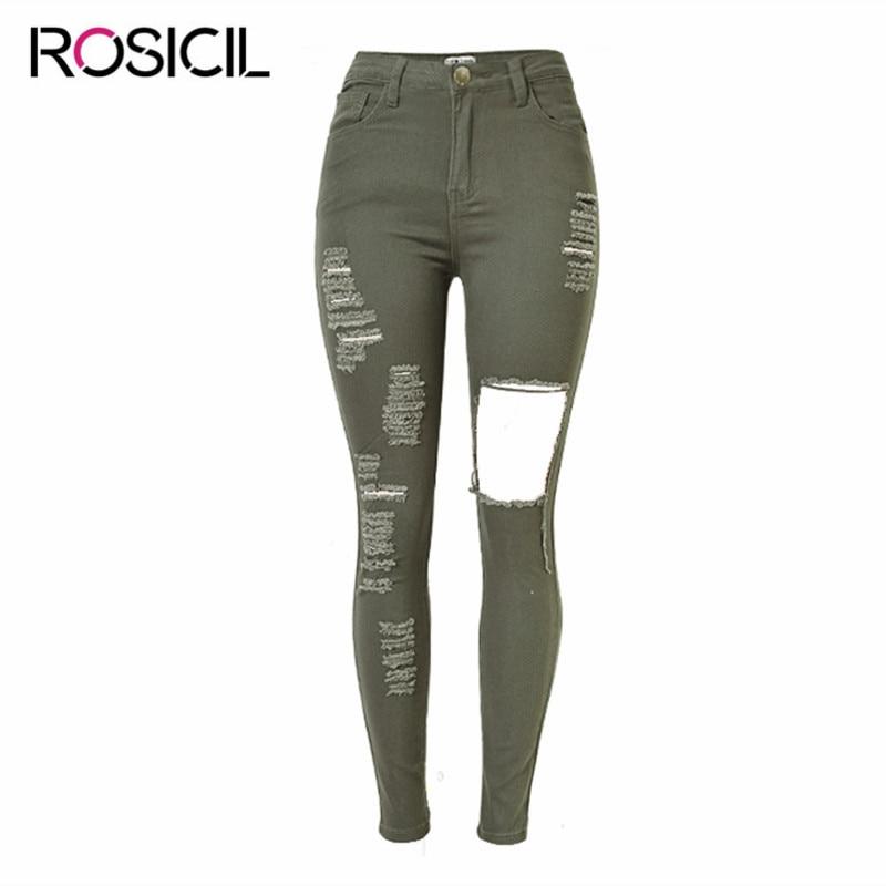 Elastizität Hohe Taille Zerrissenen Jeans Für Frauen 2018 Frühling Herbst Marke Frau Loch Engen Bleistifthosen American Apparel Jeans Femme