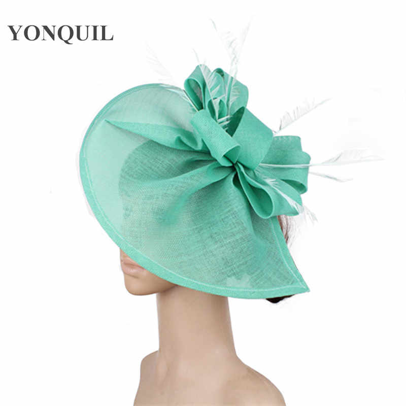 69da05650bd45 ladies emerald green wedding hair fascinator hats with fancy feather on  head band for women party