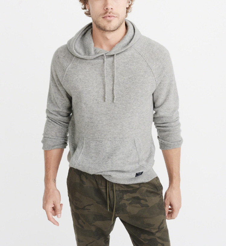 Cashmere Wool Blend Knit Men Hooded Pullover Sweater Coat Neutral Color Wide Loose S-2XL Retail Wholesale