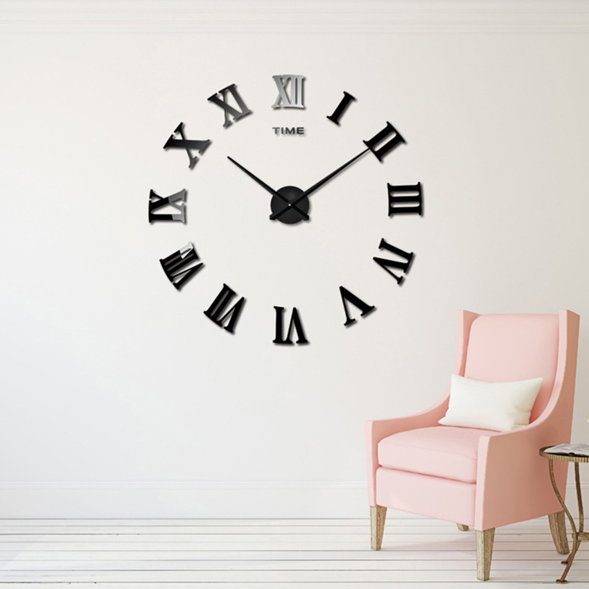 2018 novo grande relógio de parede romano espelho acrílico diy relógios de decoração para casa sala de estar adesivos de parede design moderno