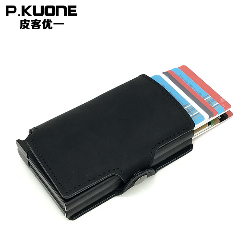 P.KUONE Double Box Porte Carte PU Thin Business ID Credit Card Holder Wallets Pocket Case Bank Credit Card Case Card Money Purse never leather badge holder business card holder neck lanyards for id cards waterproof antimagnetic card sets school supplies