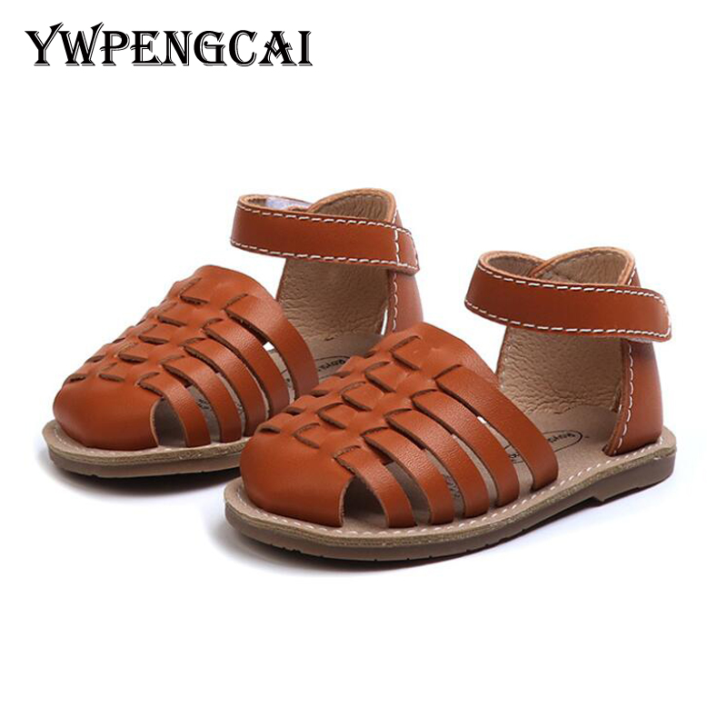 YWPENGCAI Genuine Leather Baby Sandals Summer Closed-Toe Newborn Infant Sandals Rome Style Knitted Gladiator Baby Girl Sandals