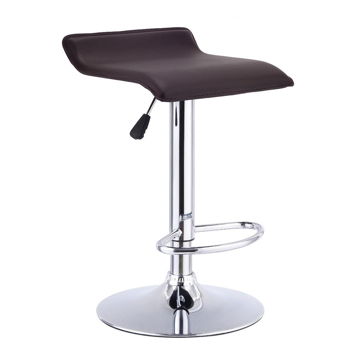 Giantex 1 PC Swivel Bar Stool Height Adjustable PU Leather Backless Dining Chair Modern Coffee Bar Chairs HW55711CF