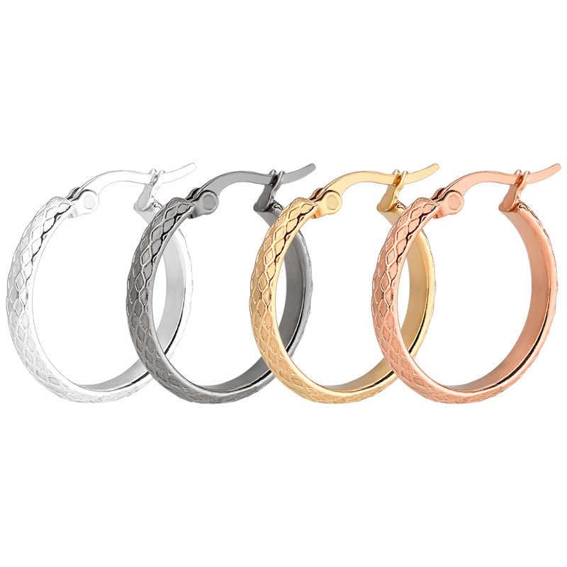 الكورية موضة الذهب والفضة كبيرة سميكة دائرة هوب أقراط للنساء بسيطة شبكة الملمس هندسية الأذن القرط الحد الأدنى مجوهرات